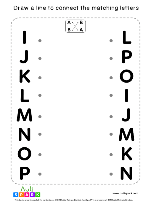 Match Uppercase Letters #09 - Free Matching Worksheet