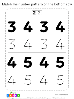 Match Number Patterns Worksheet #02 – Trace the Numbers