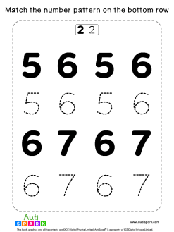 Match Number Patterns Worksheet #03 – Trace the Numbers