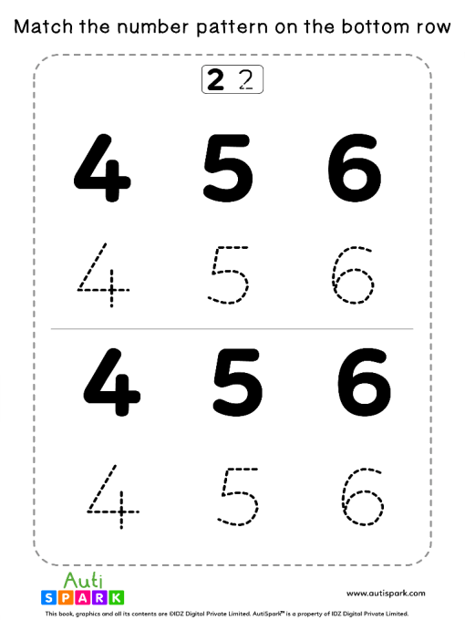 Match Number Patterns Worksheet #09 – Trace the Numbers