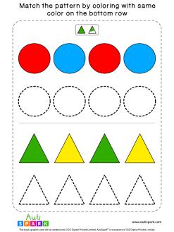 Fun Color Patterns Worksheet #01 – Color the Shapes