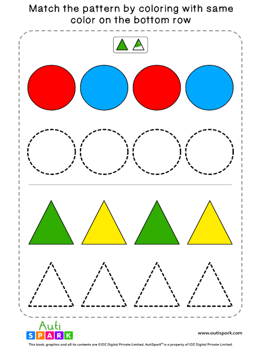 Fun Color Patterns Worksheet #01 – Color the Shapes