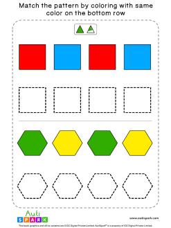 Match Color Patterns Worksheet #02 – Color the Shapes