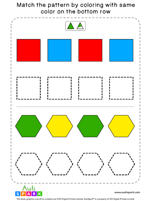 Match Color Patterns Worksheet #02 – Color the Shapes