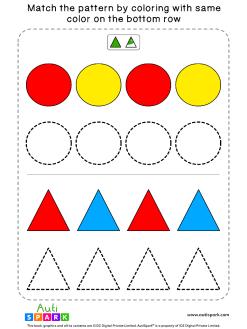 Match Color Patterns Worksheet #07 – Color the Shapes