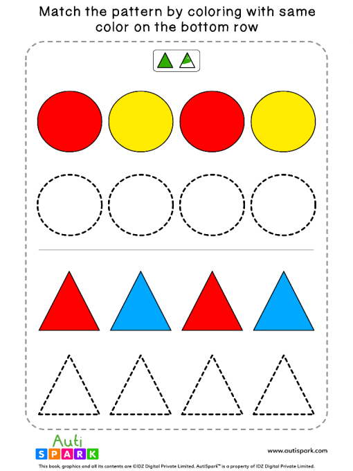 Match Color Patterns Worksheet #07 – Color the Shapes