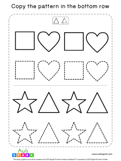 Tracing Shapes Free Worksheet #02 – Match Shape Patterns