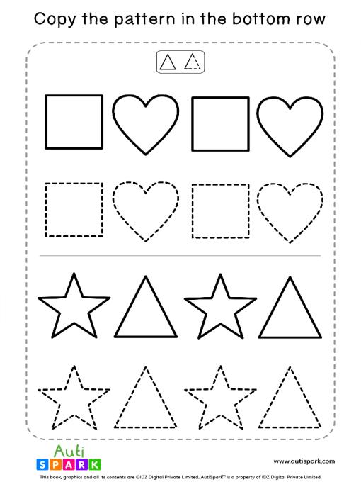 Tracing Shapes Free Worksheet #02 – Match Shape Patterns