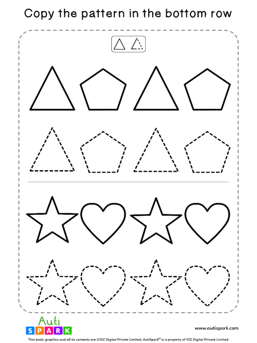 Tracing Shapes Free Worksheet #04 – Match Shape Patterns