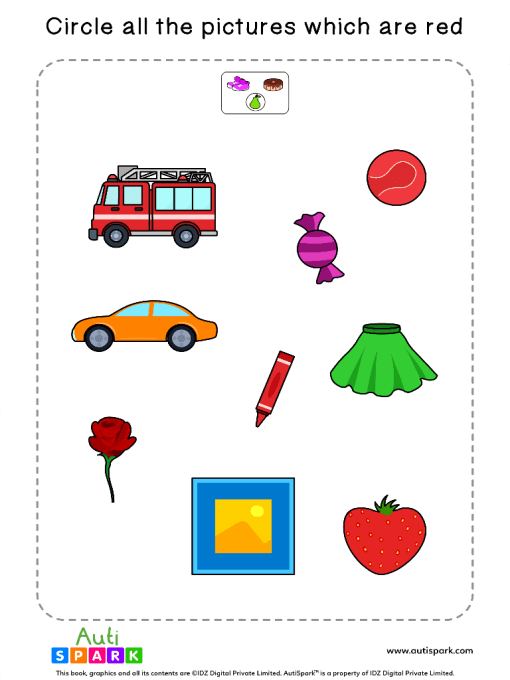 Circle The Red Objects Worksheet 7