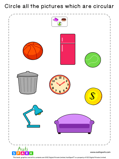 Circle The Round Objects Worksheet 8