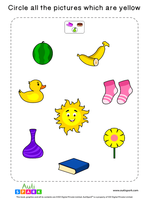 Circle The Yellow Objects Worksheet 10