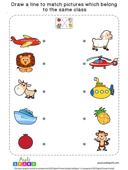 Match Pictures By Class #6 – Fun Matching Worksheet