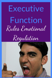 "A dark-haired man yelling and pointing directly at the viewer.  Blue and white text on a purple background reads ""Executive function rules emotional regulation"""