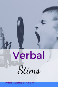 """Black and white picture of a boy singing loudly into a microphone. Purple and black text on a white background reads """"Verbal Stims"""""""