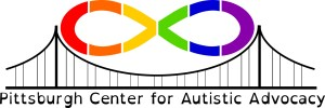 Pittsburgh Center for Autistic Advocacy logo, a rainbow infinity symbol spans a bridge