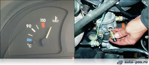 Na foto - ponteiro de temperatura do motor e DPE
