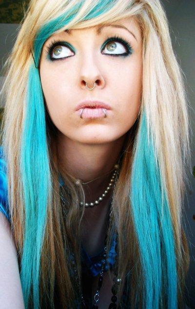 Blonde And Blue Emo Scene Hair Style Bibi Barbaric