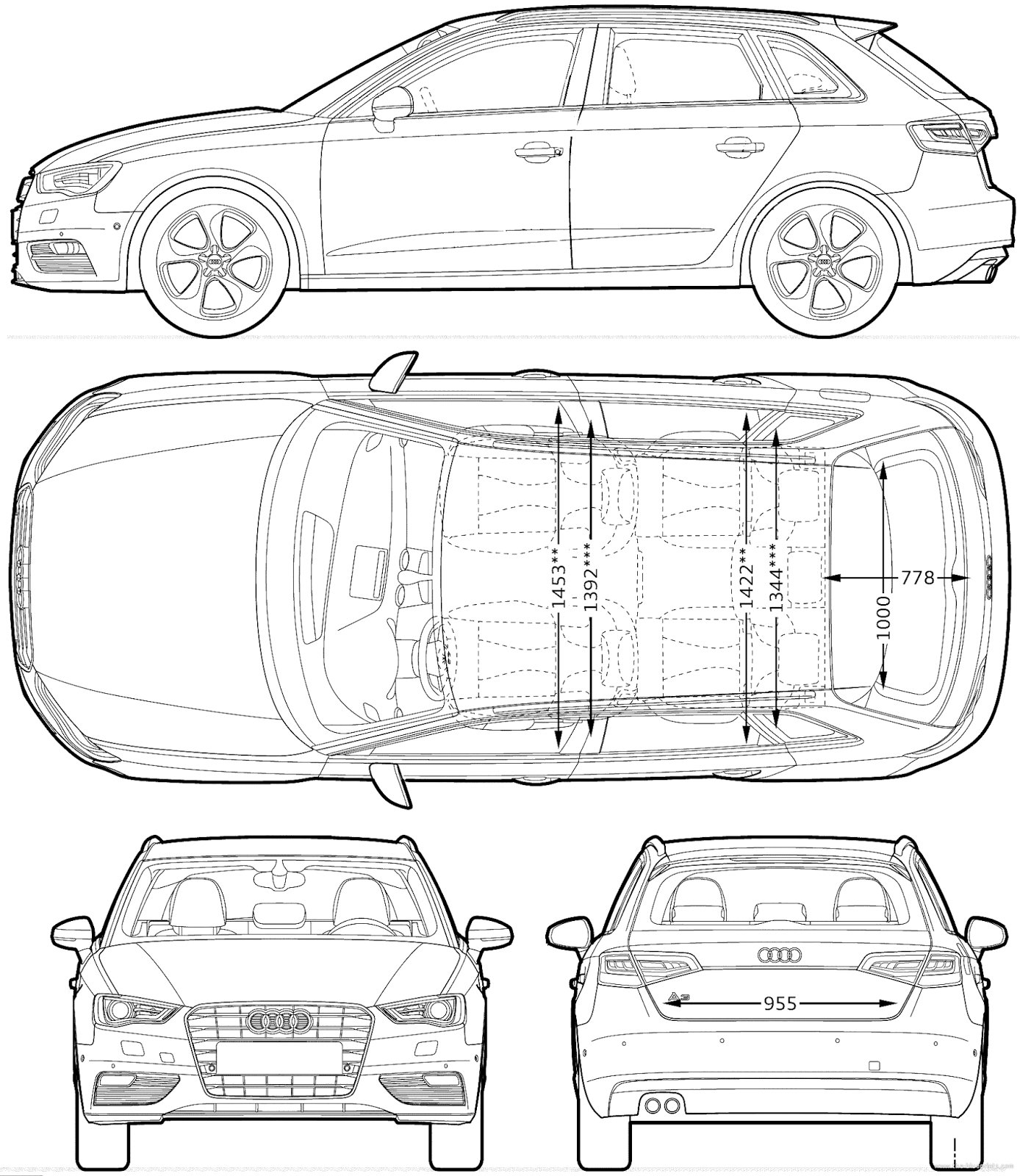 Latest Audi A3 Sportback Blueprints Audi A3 Sportback Car Free Download