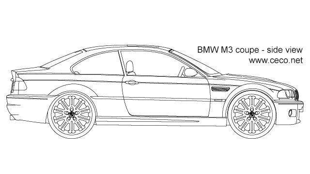 Latest Autocad Drawing Bmw M3 Coupe Side View Dwg Free Download