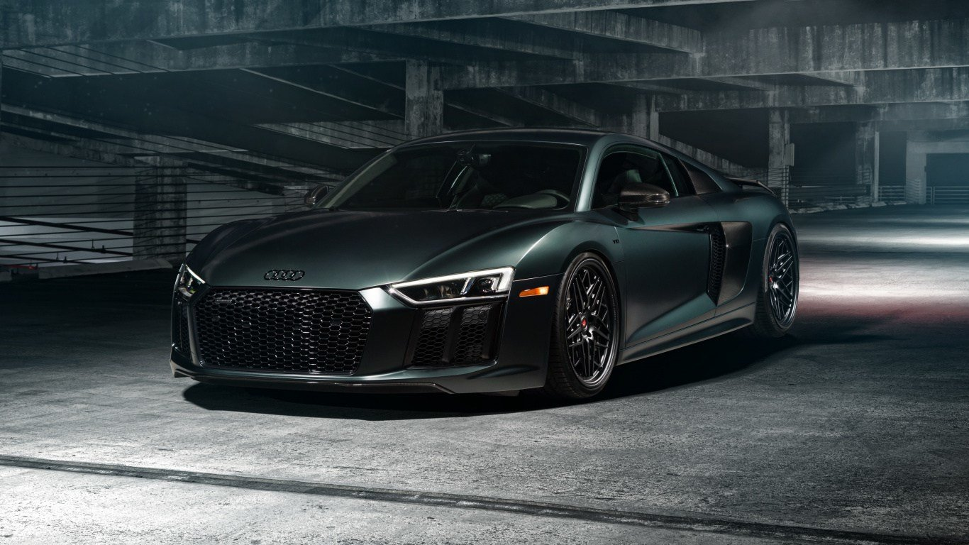 Latest Download 1366X768 Wallpaper Audi R8 Dark Green Sports Free Download
