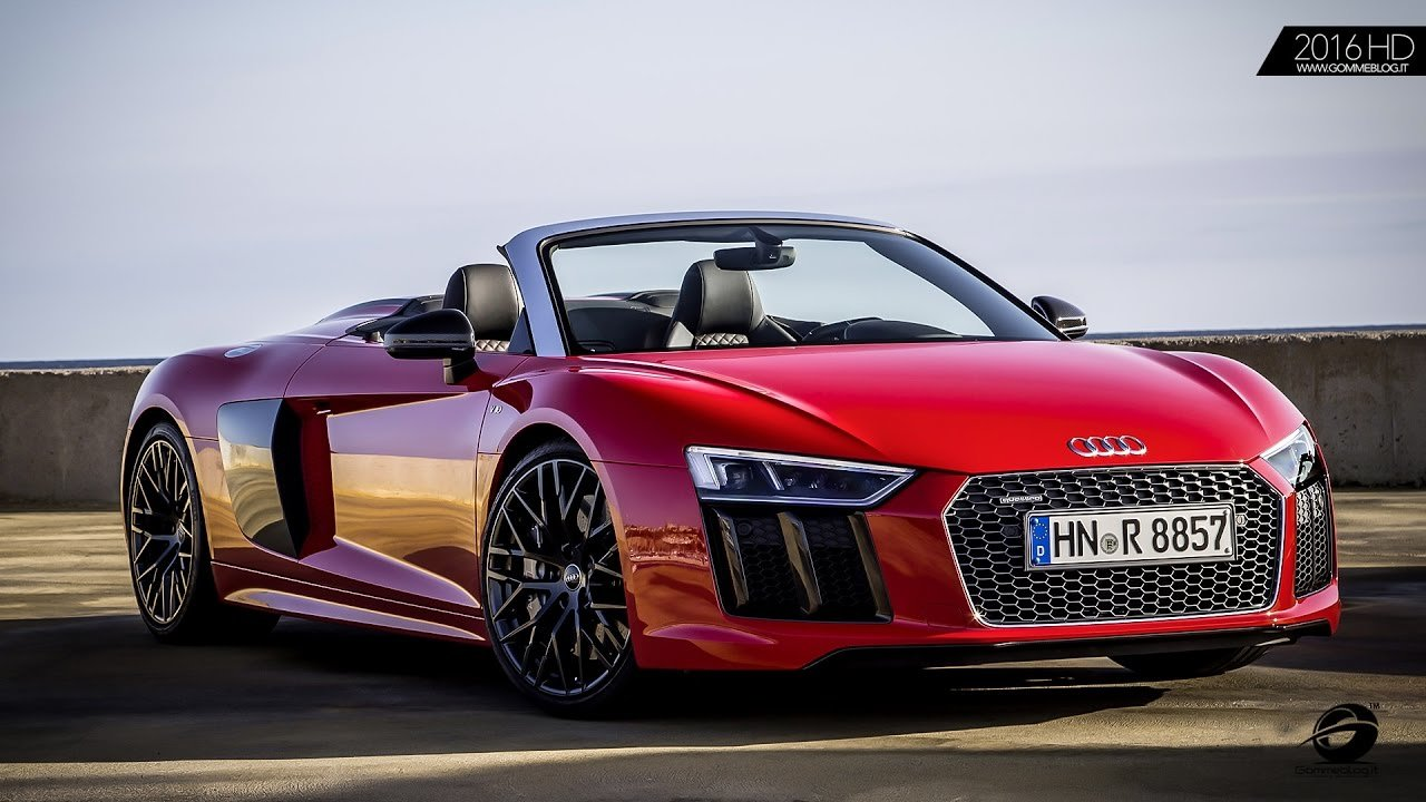 Latest Awesome Red 2017 Audi R8 Spyder V10 Exhaust Sound Free Download