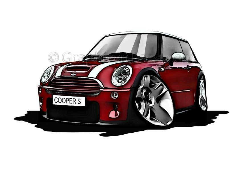 Latest Mini Cooper S Red Caricature Car Cartoon A4 Print Ebay Free Download