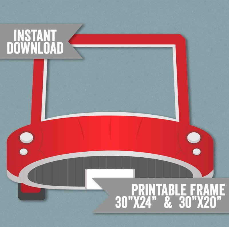 Latest Car Frame Prop Printable Red Car Photo Booth Frame Kid S Free Download