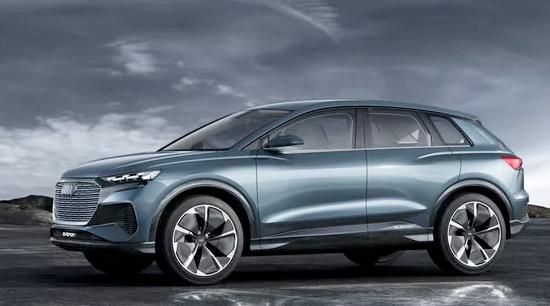 Audi q4 e tron all electric side view