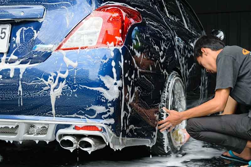 wash car in garage