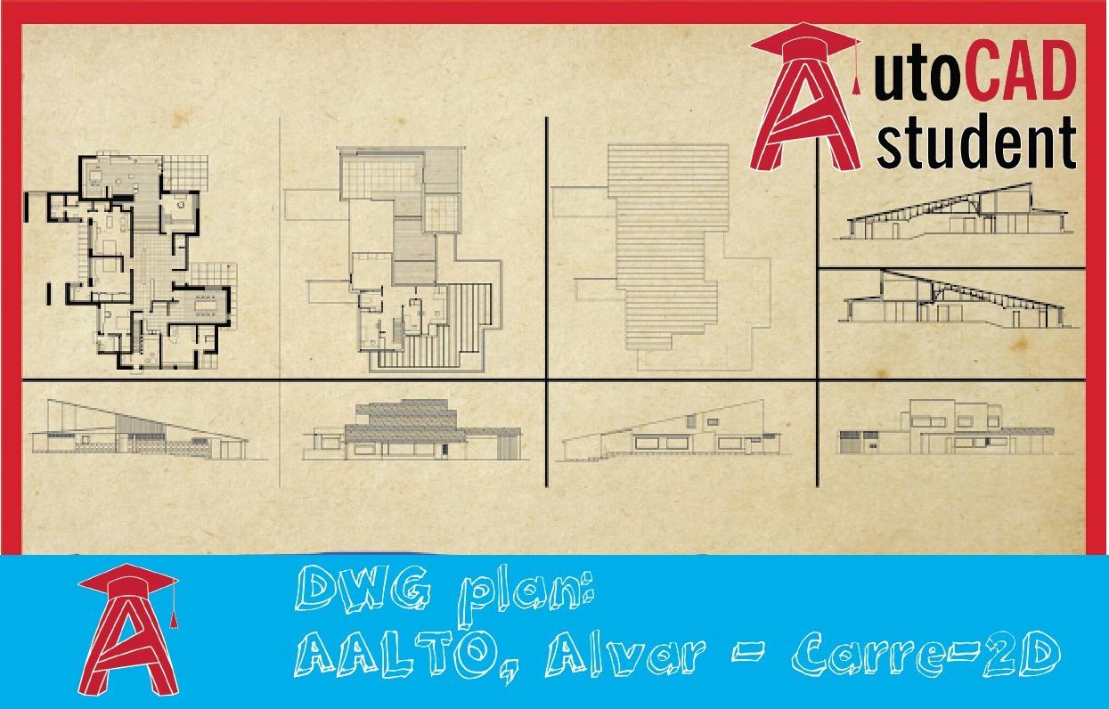 Dwg Plan Aalto Alvar Carre 2d Autocad Student