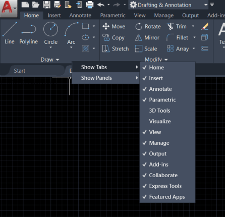 Hide/show panels in AutoCAD AutoCAD Workspace Settings