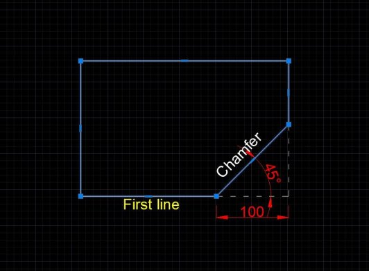 Chamfer command-Angle method Autocad
