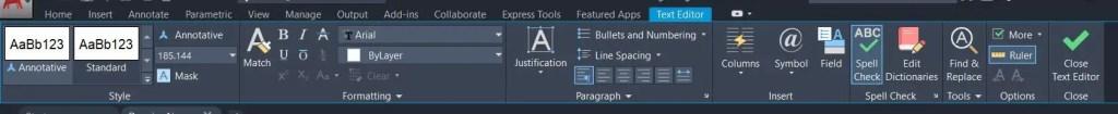 Text Editor tab-AutoCAD