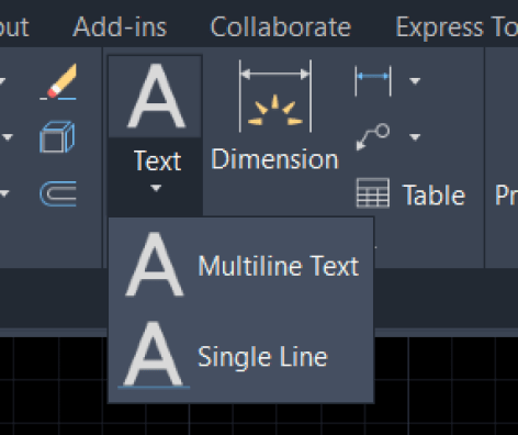 Annotation panel AutoCAD Texted