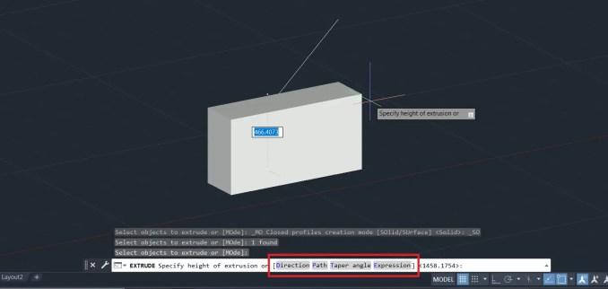 Command bar Extrude options - AutoCAD 3D