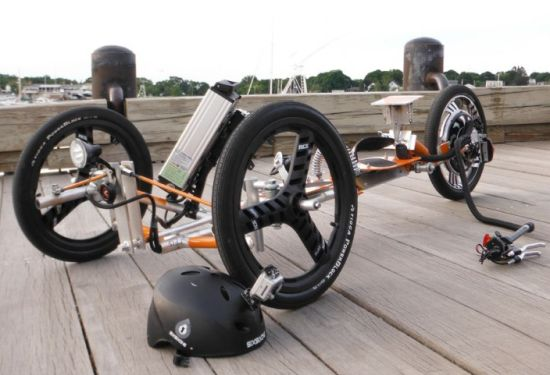 Tribey combines recumbent trike and motorized skateboard for Recumbent bike with electric motor