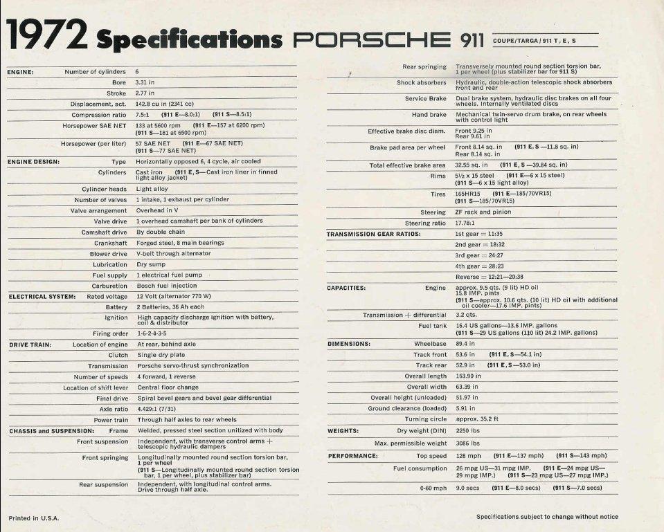 Original 1972 Porsche 911 Specification Sheet