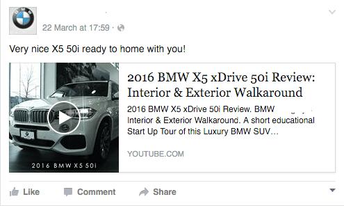 BMW Facebook Advertisement
