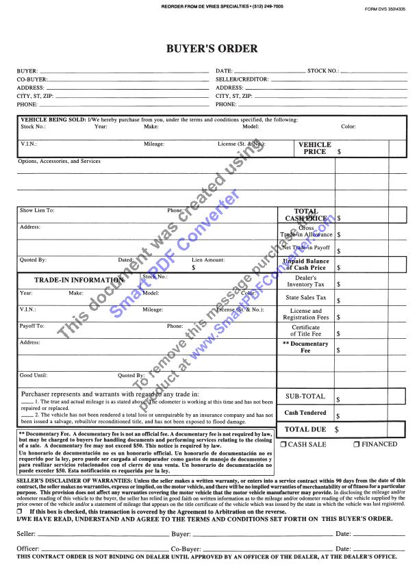 Form Texas Buyers Order