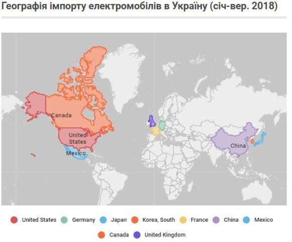 Американцы, немцы и японцы: откуда, сколько и какие электромобили завозят в Украину. Инфографика