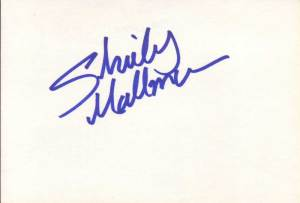 Shirley Mallmann in-person autographed index card