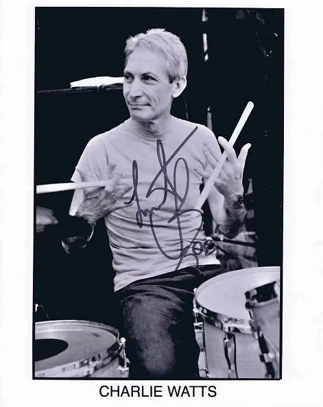 Charlie Watts The Rolling Stones autograph photograph 2008