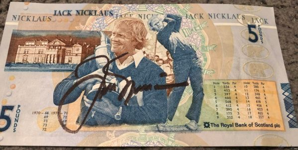 Jack Nicklaus Signed £5 Scottish rare note Authentic Autograph