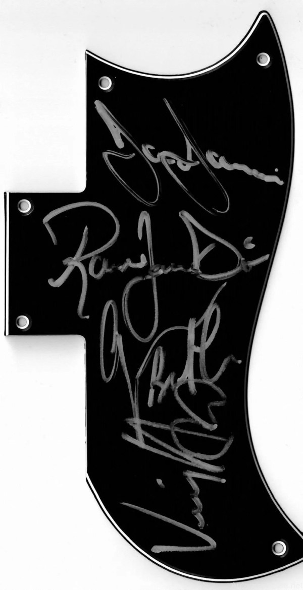 Black Sabbath autograph pickguard by Heaven & Hell