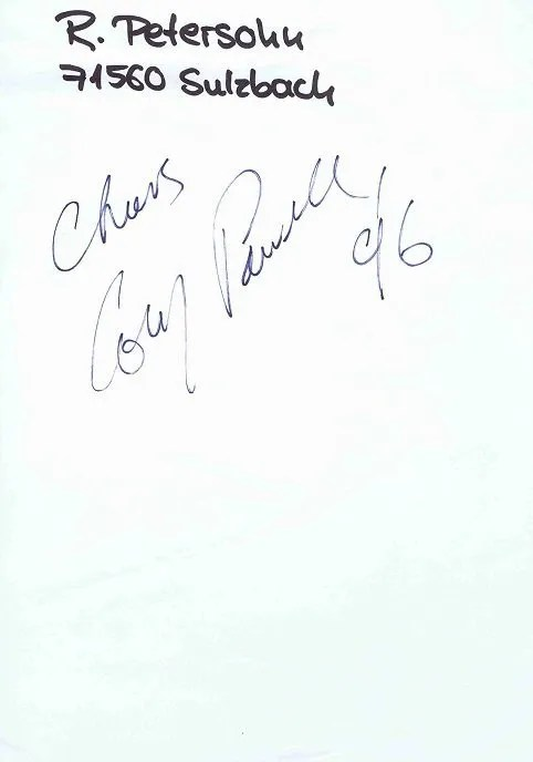 Cozy Powell Autographed page dated 1996.