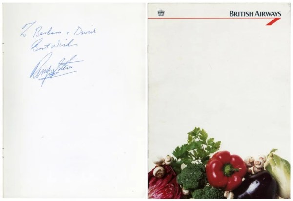 Ringo Starr Autographed British Airways Menu The Beatles