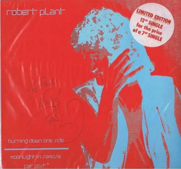 Robert Plant Led Zeppelin Autographed single