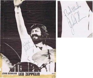 John Bonham autograph poster Led Zeppelin