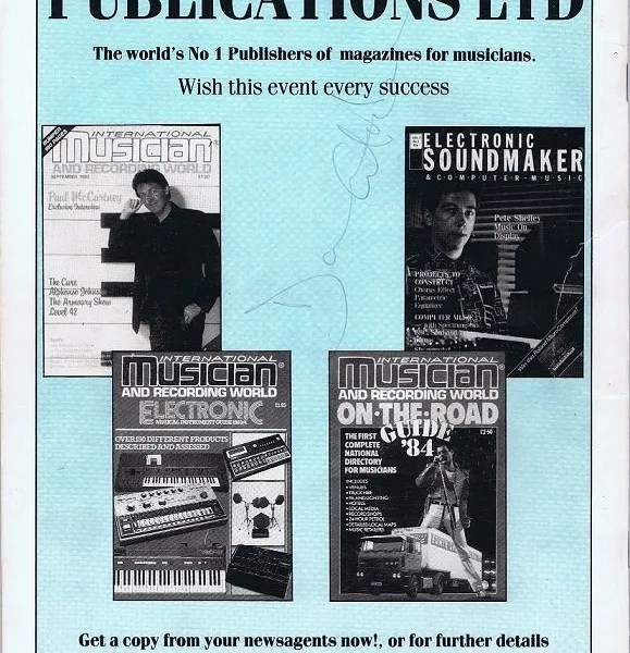 David Gilmour Autograph Programme Pink Floyd